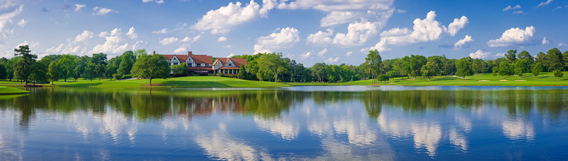 East Lake Golf Club's clubhouse, as seen across the lake