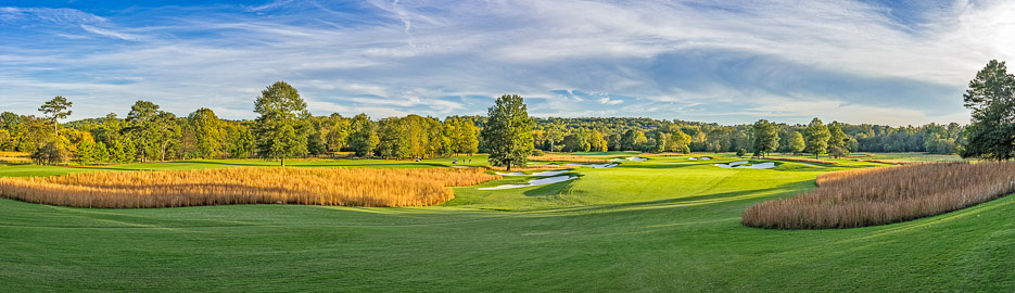 A panoramic photo of 17th Hole, Capital City Club's Crabapple Course, Milton, GA
